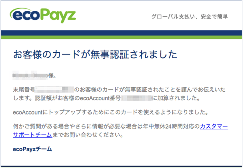 エコペイズ(ecoPayz)カード認証メール